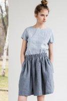 not PERFECT LINEN | Short linen skirt BARI with wide elastic waistband (dark grey)の商品画像