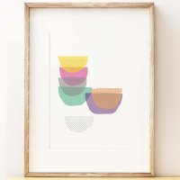 SHAPE COLOUR PATTERN | Stacked Bowls kitchen wall art print | A3 アートプリント/ポスター【北欧 モダン インテリア】の商品画像