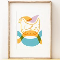 SHAPE COLOUR PATTERN | Mid century Bird wall art print | A3 アートプリント/ポスター【北欧 モダン インテリア】の商品画像