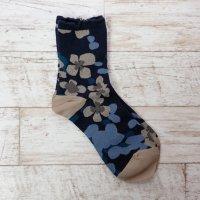 arome de muguet | violla (navy) | ソックス【靴下 かわいい フラワー 花柄】