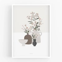 MICUSH | POTTERY AND FLOWERS PRINT (light grey) (AP129) | アートプリント/ポスター (30x40cm)