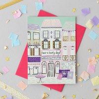 JESSICA HOGARTH   ILLUSTRATED BIRTHDAY GREETING CARD (gold foil)   グリーティングカード【イギリス カラフル 誕生日 箔押し】の商品画像