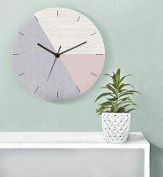 GALIA STUDIO | Geometric Wall Clock (pink/grey)【壁掛け時計 北欧 ノルディック モダン インテリア】の商品画像