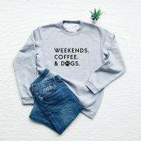 Vim Tees | WEEKENDS COFFEE & DOGS sweatshirt (heather gray) | スウェット (M/Lサイズ)【タイポグラフィ ミニマリスト 裏起毛】の商品画像