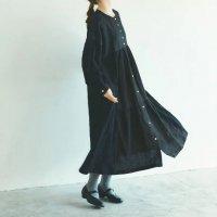 MAGALI | コットンリネン・ドット・ ミックス・ワンピース (black) | ワンピース 送料無料 マガリ シンプル 長袖の商品画像