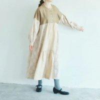 MAGALI | コットンリネン・ドット・ ミックス・ワンピース (off white) | ワンピース 送料無料 マガリ シンプル 長袖の商品画像