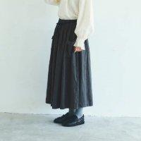 MAGALI | ブラッシュド・ベルギーリネン ロングスカート (charcoal) | ボトムス 送料無料 マガリ シンプル スカートの商品画像