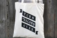 URBAN BIRD & CO. | TURN THAT RECORD OVER | BLACK ON NATURAL CANVAS | トートバッグ