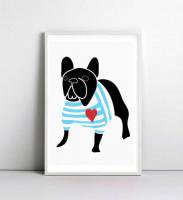 NICE MICE FOR YOU | FRENCH BULLDOG IN BRETON SHIRT (black) | A4 アートプリント/ポスター