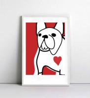 NICE MICE FOR YOU | FRENCH BULLDOG (red) | A4 アートプリント/ポスター