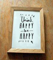 OLD ENGLISH CO. | THINK HAPPY BE HAPPY PRINT (BLACK/WHITE BACKGROUND) | A3 アートプリント/ポスター