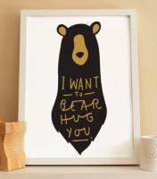 OLD ENGLISH CO. | BEAR HUG PRINT (BLACK AND GOLD/WHITE BACKGROUND) | A4 アートプリント/ポスター