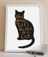 OLD ENGLISH CO. | QUOTE CAT PRINT (BLACK AND GOLD/WHITE BACKGROUND) | A4 アートプリント/ポスター