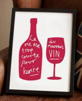 OLD ENGLISH CO. | FRENCH WINE PRINT (CRANBERRY/WHITE BACKGROUND) | A3 アートプリント/ポスター