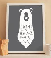 OLD ENGLISH CO. | BEAR HUG PRINT (WHITE/CHARCOAL BACKGROUND) | A3 アートプリント/ポスター