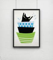 NICE MICE FOR YOU | BLACK CAT SWIMS IN A BOWL | A4 アートプリント/ポスター
