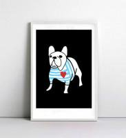 NICE MICE FOR YOU | FRENCH BULLDOG IN BRETON SHIRT | A4 アートプリント/ポスター