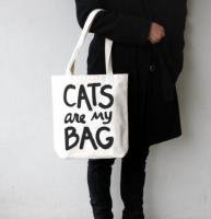 XENOTEES | CATS ARE MY BAG TOTE | トートバッグ (white handles)