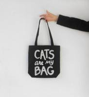 XENOTEES | CATS ARE MY BAG TOTE | トートバッグ (black/silver)