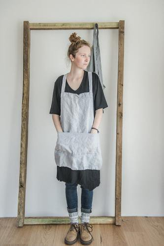 not perfect linen short square cross linen apron washed silver hafen. Black Bedroom Furniture Sets. Home Design Ideas