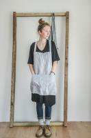 not PERFECT LINEN | SHORT SQUARE CROSS LINEN APRON (washed silver) | エプロン