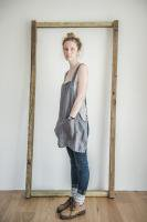 【ネコポス送料無料】not PERFECT LINEN | SHORT SQUARE CROSS LINEN APRON (dark grey) | エプロン