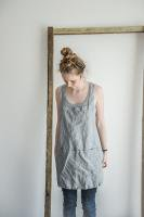 not PERFECT LINEN | SHORT SQUARE CROSS LINEN APRON (light grey) | エプロン