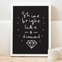 OLD ENGLISH CO. | SHINE BRIGHT LIKE A DIAMOND (WHITE/BLACK BACKGROUND) | A4 アートプリント/ポスター