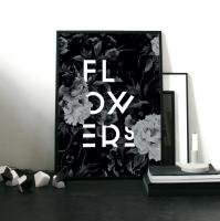 aboutgraphics | FLOWERS (black) | アートプリント/ポスター (50x70cm)