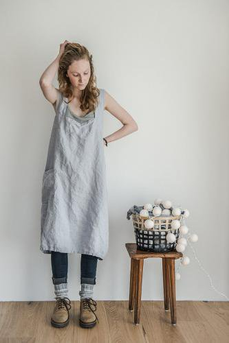 not perfect linen pinafore square cross linen apron washed silver hafen. Black Bedroom Furniture Sets. Home Design Ideas