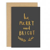 OLD ENGLISH CO. | BE MERRY BED BRIGHT CARD (gold foil) | クリスマス | グリーティングカード
