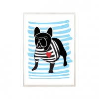 NICE MICE FOR YOU | FRENCH BULLDOG IN BRETON SHIRT (black/blue stripe) | A4 アートプリント/ポスター