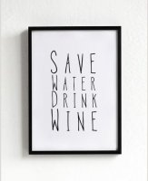MOTTOS PRINT | SAVE WATER DRINK WINE | A3 アートプリント/ポスター