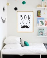 LOVELY POSTERS | BONJOUR MUSTACHE | A4 アートプリント/ポスター