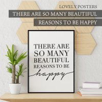 LOVELY POSTERS | THERE ARE SO MANY BEAUTIFUL REASONS TO BE HAPPY | A3 アートプリント/ポスター【北欧 シンプル おしゃれ】