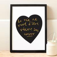 OLD ENGLISH CO. | FRENCH LOVE HEART PRINT (BLACK AND GOLD/WHITE BACKGROUND) #2 | A3 アートプリント/ポスター