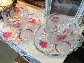 美しい薔薇模様 曽我ガラス ICE ROSE カップ&ソーサー5客セット