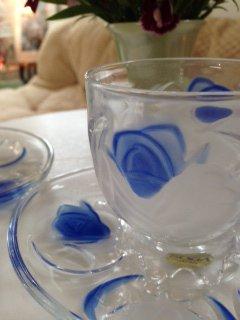 美しい薔薇模様 曽我ガラス ROSE GARDEN   ブルーローズ カップ&ソーサー5客セット