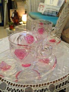 曽我ガラス ICE ROSE カップ&ソーサー 美しいピンクローズ