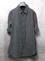 【DEVOA】Short sleeve shirt Washi washer finish /BLACK
