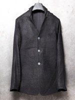 【DEVOA】Jacket camel/Linen shadow check /BLACK