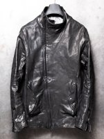 【incarnation】HORSE LEATHER H/N BIAS ZIP/F BLOUSON W/F.PKT LINED /BLACK