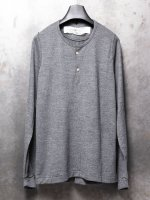 【individual sentiments】WASHABLE WOOL JERSEY HENLEY NECK LS /CHARCOAL