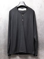 【individual sentiments】WASHABLE WOOL JERSEY HENLEY NECK LS /BLACK