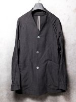 【DEVOA】Jacket Silk linen canvas sand blast finish /BLACK