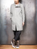 【LINEA_F by incarnation】WAXED COTTON HI-NECK BIAS BTN COAT UNLINED /L.GRAY