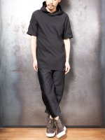 【LINEA_F by incarnation】COTTON65% PO32% EL3% CUT&SAWN HOODED RAGLAN SHORT SLEEVE /BLACK