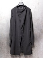 【LINEA_F by incarnation】SUMMER WOOL STAND COLLAR BTN COAT UNLINED /BLACK