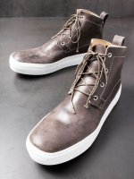 【LINEA_F by incarnation】WAXED HORSE CORDOVAN SNEAKER 4HOLES /GRAY