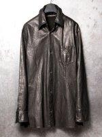 【ISAMU KATAYAMA BACKLASH】スペインカーフレザー製品染シャツ /BLACK